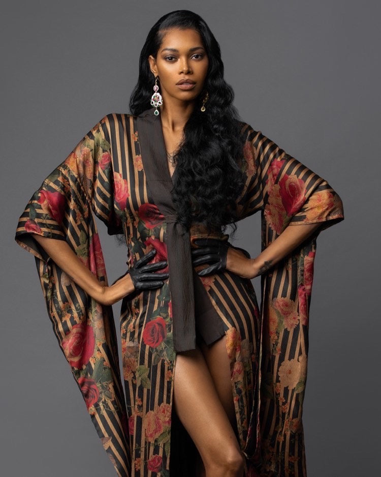 Covergirl Jessica White In Black Magazine Styled in exquisitely*joy Silk Kimono
