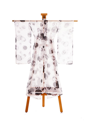 Many Faces of a Woman Kimono White By Joy Kimono Back Kaftan Gown Robe Silk Chiffon