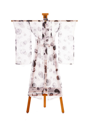 Many Faces of a Woman Kimono White By Joy Kimono Front Kaftan Gown Robe Silk Chiffon