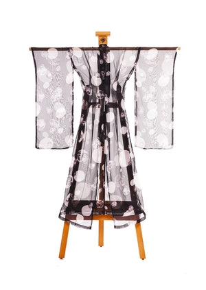 Many Faces of a Woman Kimono Black by Joy Kimono Back Chiffon Silk Kaftan Gown Robe