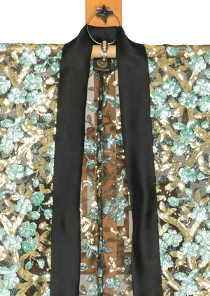 King of the Forest Kimono Blazer by Joy Kimono Close Up Bromono Sequin