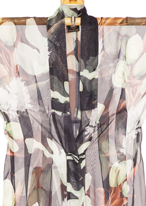 Miss Jasmine Kimono Gown by Joy Kimono Close Up Hoodie Silk Dress