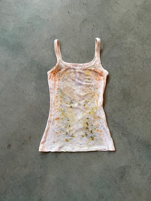 Naturally Dyed Cotton Tank Top + Lace Knicker Set Size S