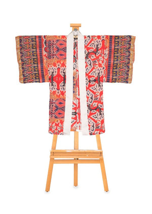 China Red Kimono Duster by Joy Kimono Front Plus Size for Men for Women Organza Kaftan Robe
