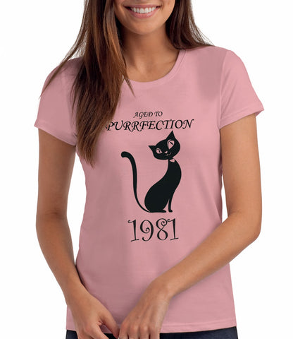 Aged to Purrfection - 1981, Women's 40th Birthday T Shirt