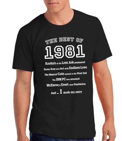 The Best of 1981- 40th Birthday T Shirt for Men