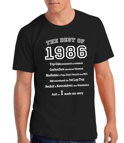 The Best of 1986- 33rd Birthday T Shirt for Men