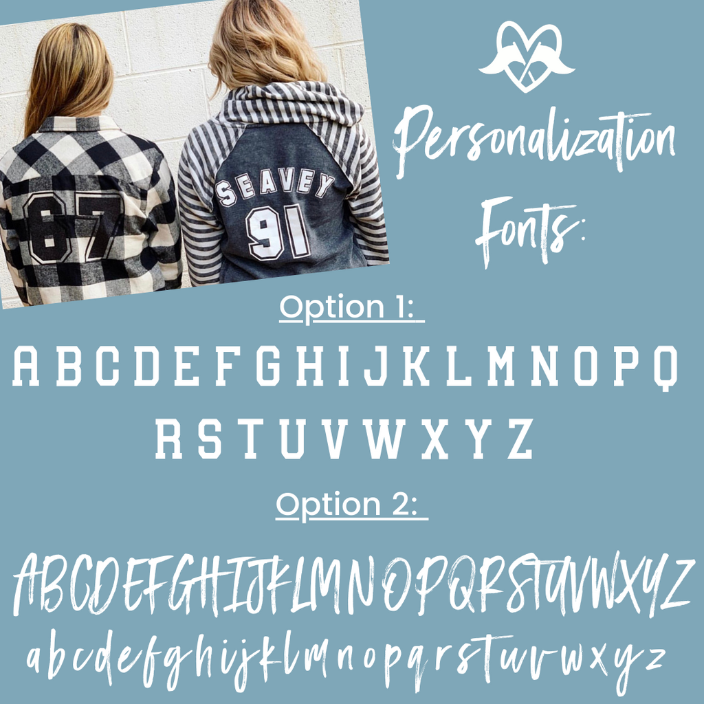 Highline Clothing personalization font chart