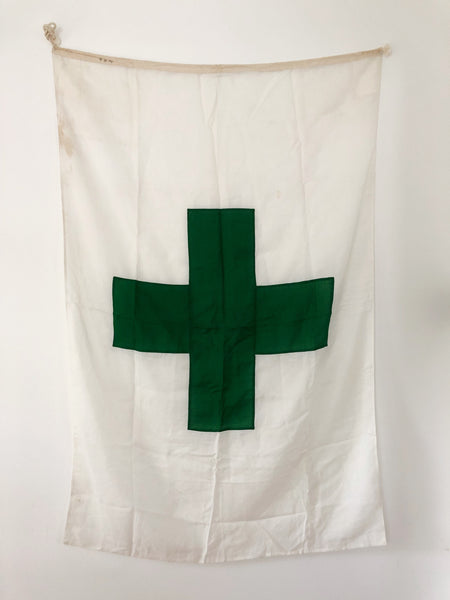 VINTAGE GREEN CROSS FLAG (JAPANESE SAFETY FLAG)