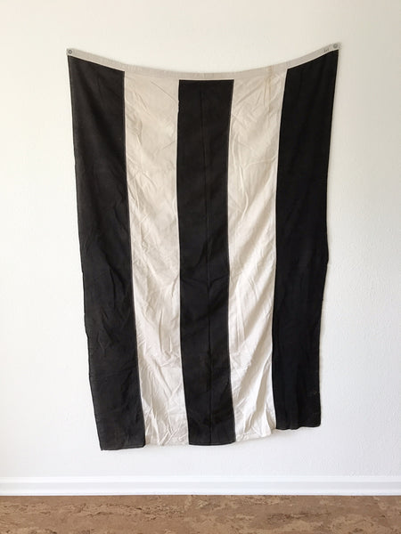 VINTAGE BLACK AND WHITE STRIPED FLAG