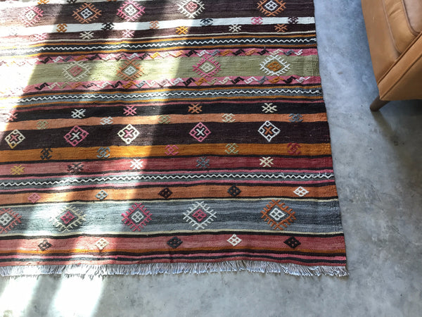 "VINTAGE WOOL KILIM RUG ""SHELLEY"""