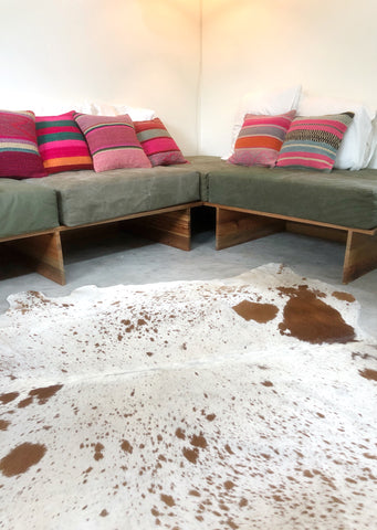 WHITE & BROWN DAPPLE COWHIDE RUG