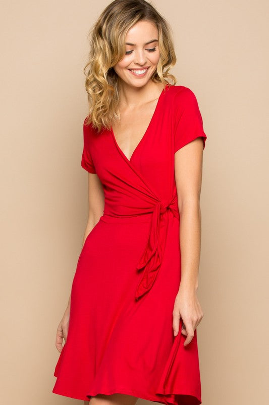Tulip Wrap Short Sleeve Spring Dress - Red