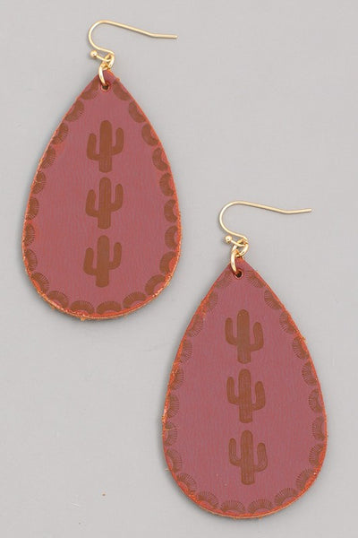 Cactus Stamped Tear Drop Earrings - Burgundy - Saddles & Lace Boutique - Western and boho inspired clothing, bags, and accessories for women