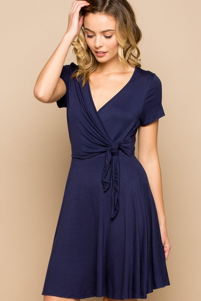 Tulip Wrap Short Sleeve Spring Dress - Navy Blue