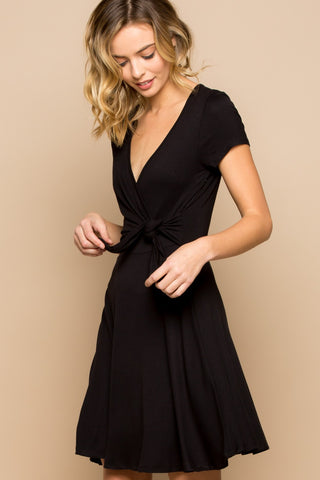 Tulip Wrap Short Sleeve Spring Dress - Black