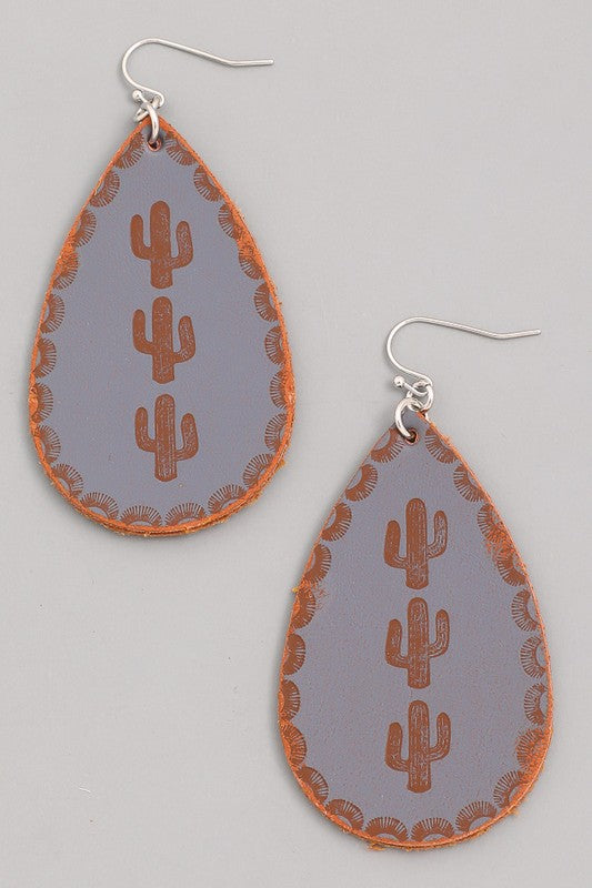 Cactus Stamped Tear Drop Earrings - Gray - Saddles & Lace - New western and southwest inspired clothing, bags, and accessories for women