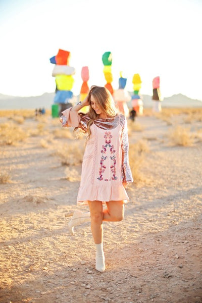 Pink Embroidered Flare Dress