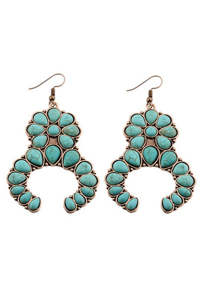 Turquoise Squash Blossom Earrings - Copper