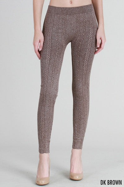 Braided Knit Leggings - Brown - Saddles & Lace Boutique - Western and boho inspired clothing, bags, and accessories for women