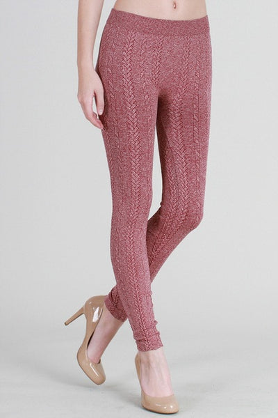 Braided Knit Leggings - Raspberry - Saddles & Lace Boutique - Western and boho inspired clothing, bags, and accessories for women