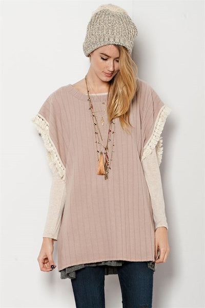 Poncho Pull Over - Blush - Saddles & Lace - New western and southwest inspired clothing, bags, and accessories for women