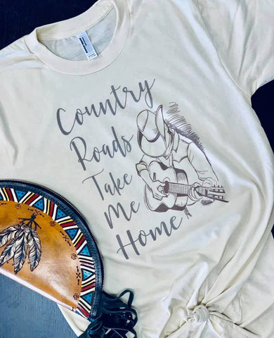 Country Roads - Vintage Style Tee Shirt - Saddles & Lace Boutique - Western and boho inspired clothing, bags, and accessories for women