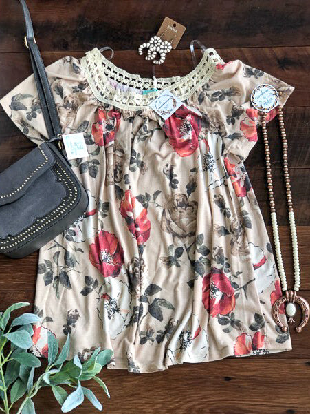 Floral Off The Shoulder Tee - Saddles & Lace Boutique - Western and boho inspired clothing, bags, and accessories for women