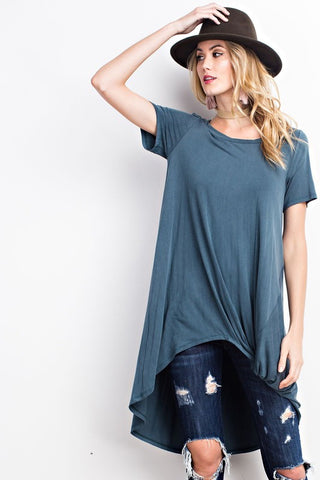 Hi-Low Short Sleeve Tunic - Faded Teal - Saddles & Lace - New western and southwest inspired clothing, bags, and accessories for women
