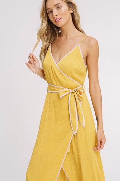 The Yellow Heart Wrap Maxi Dress