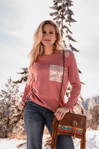 Rose Sequin Accent Top