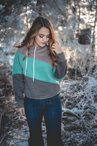 Color Block Hoodie - Mint - Saddles & Lace Boutique - Western and boho inspired clothing, bags, and accessories for women