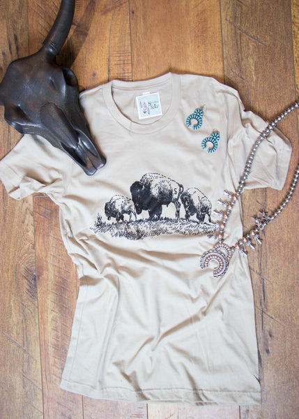 'The Branded Buffalo'  Tee Shirt - Saddles & Lace - New western and southwest inspired clothing, bags, and accessories for women