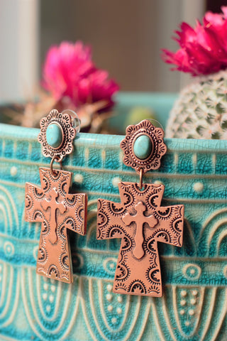 Copper Cross Roads - Earrings - Saddles & Lace Boutique - Western and boho inspired clothing, bags, and accessories for women