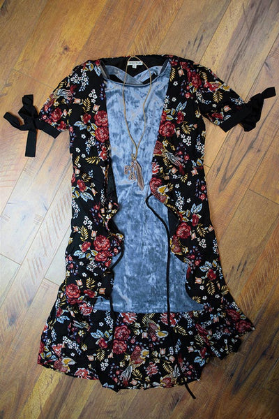 Black Floral Wrap Dress - Saddles & Lace Boutique - Western and boho inspired clothing, bags, and accessories for women