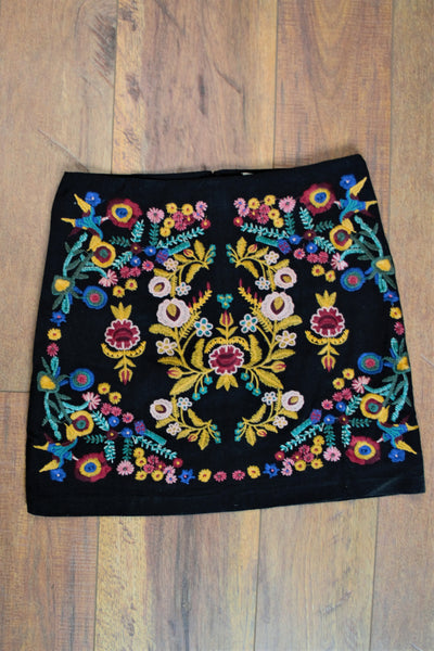'The Krooked K' Embroidered Floral Mini-Skirt - Saddles & Lace Boutique - Western and boho inspired clothing, bags, and accessories for women