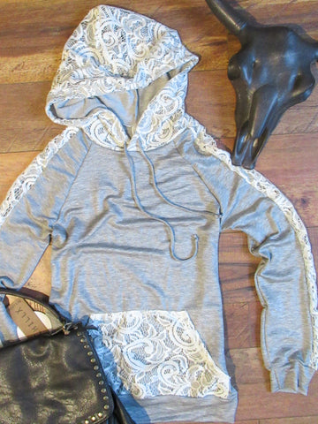 The Lace Hoodie - Heather Grey