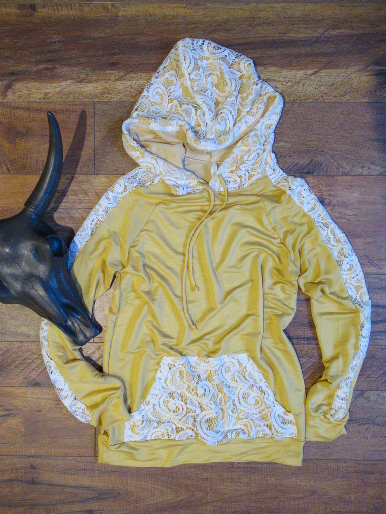 The Lace Hoodie - Mellow Yellow - Saddles & Lace Boutique - Western and boho inspired clothing, bags, and accessories for women