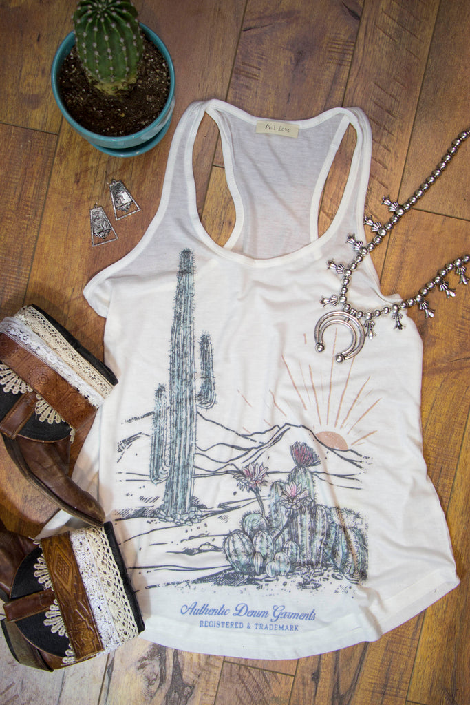 Cactus Sunrise Tank Top - Saddles & Lace Boutique - Western and boho inspired clothing, bags, and accessories for women