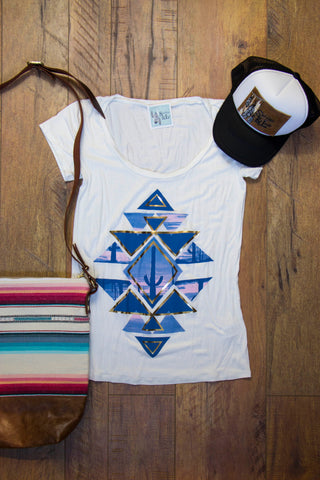 Desert Dream Prism Tee - Saddles & Lace - New western and southwest inspired clothing, bags, and accessories for women