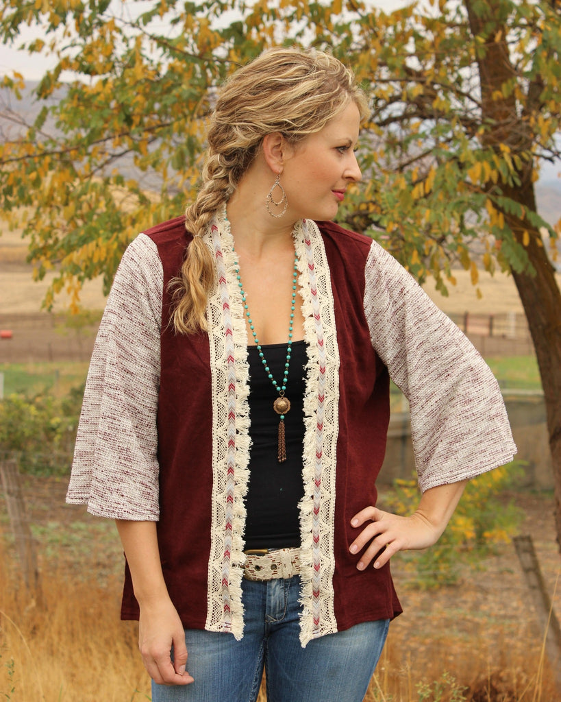 Detailed Wine Cardigan - Saddles & Lace - New western and southwest inspired clothing, bags, and accessories for women