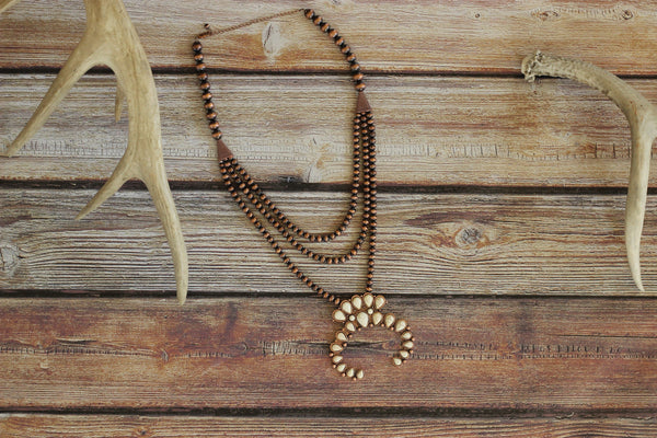 Ivory Squash Blossom w/ Copper Beads - Triple Strand Necklace - Saddles & Lace - New western and southwest inspired clothing, bags, and accessories for women