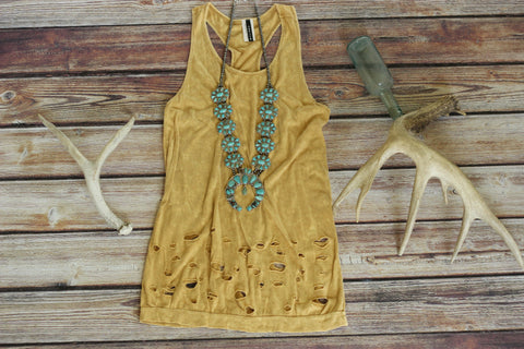 Aged Gold - Tank Top - Saddles & Lace - New western and southwest inspired clothing, bags, and accessories for women