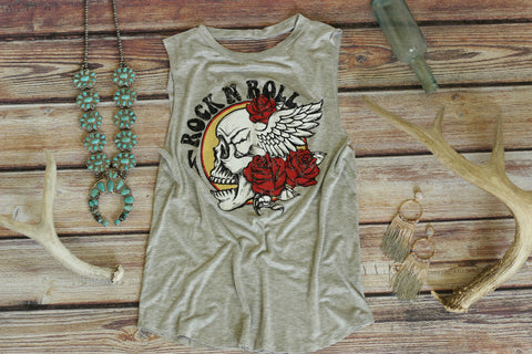 Heather Grey Rock & Roll Tee Shirt with Lace Detail