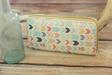 Soft Shell Chevron Print Wallet - Saddles & Lace - New western and southwest inspired clothing, bags, and accessories for women