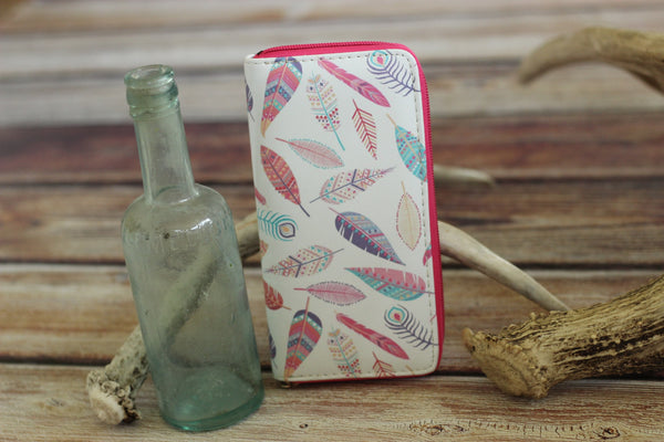 Soft Shell Feather Print Wallet - Saddles & Lace - New western and southwest inspired clothing, bags, and accessories for women