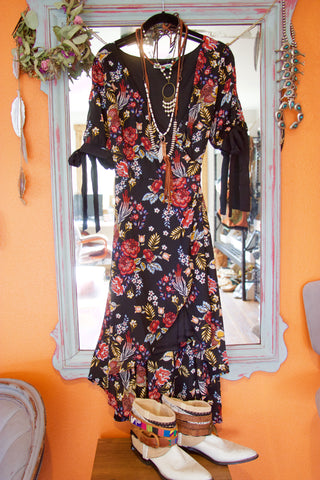 Black Floral Wrap Dress - Saddles & Lace - New western and southwest inspired clothing, bags, and accessories for women