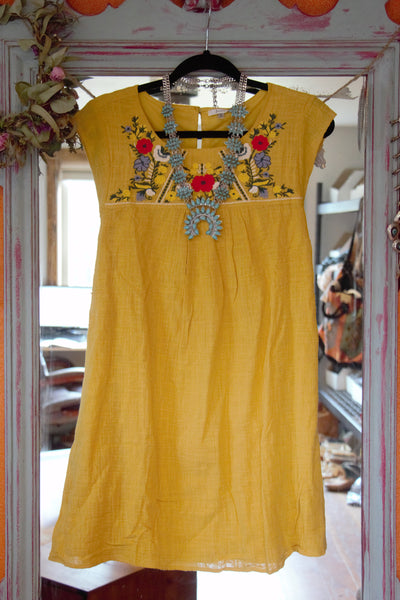 Moody Ranch - Yellow Embroidered Dress