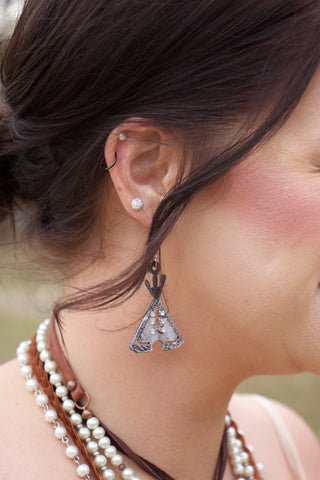 TeePee Metal Earrings with Crystal Accents - Saddles & Lace Boutique - Western and boho inspired clothing, bags, and accessories for women