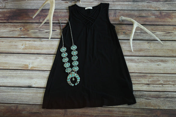 Black CrissCross Sleeveless Dress - Saddles & Lace Boutique - Western and boho inspired clothing, bags, and accessories for women